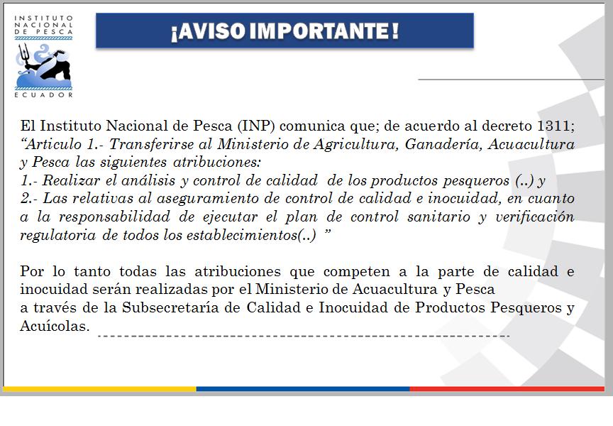 Ministerio de Acuacultura y Pesca asume el control sanitario de los productos  pesqueros y acuícolas.