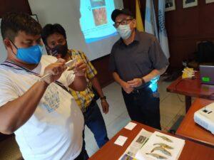 Blgo. Jorge Correa del IPIAP, durante el taller, instruyó a los pescadores la manera correcta de medir el camarón pomada para realizar luego el correcto registro en el formulario.
