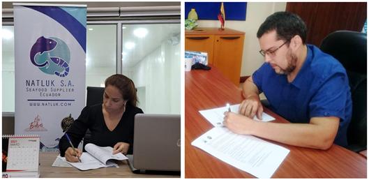 Verónica Dahik, gerente general de NATLUK S.A y Juan Javier García, director general del IPIAP durante la firma del convenio.